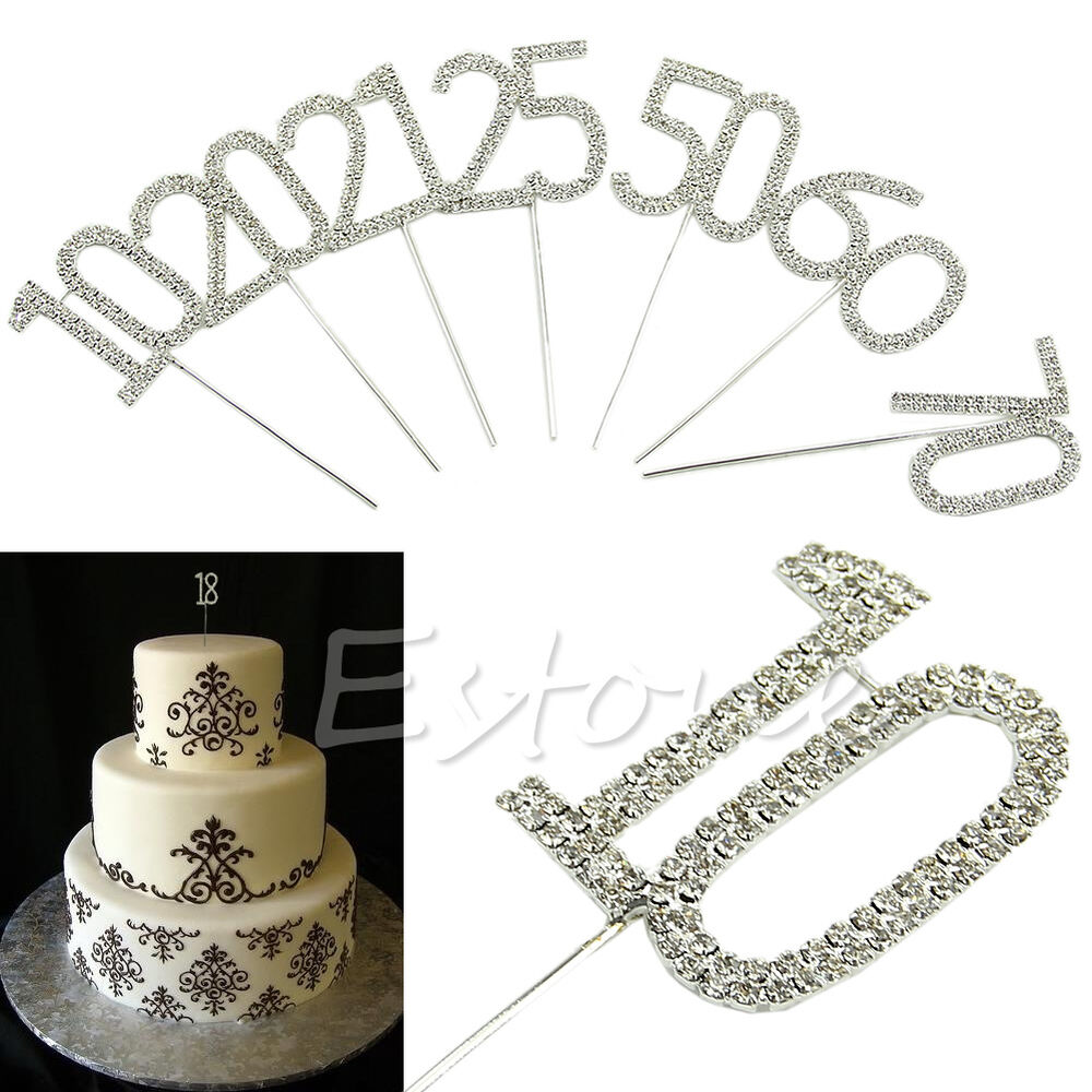 Details About Diamante Cake Pick Topper Numbers Age Birthday Anniversary Silver Sparkle 10 70