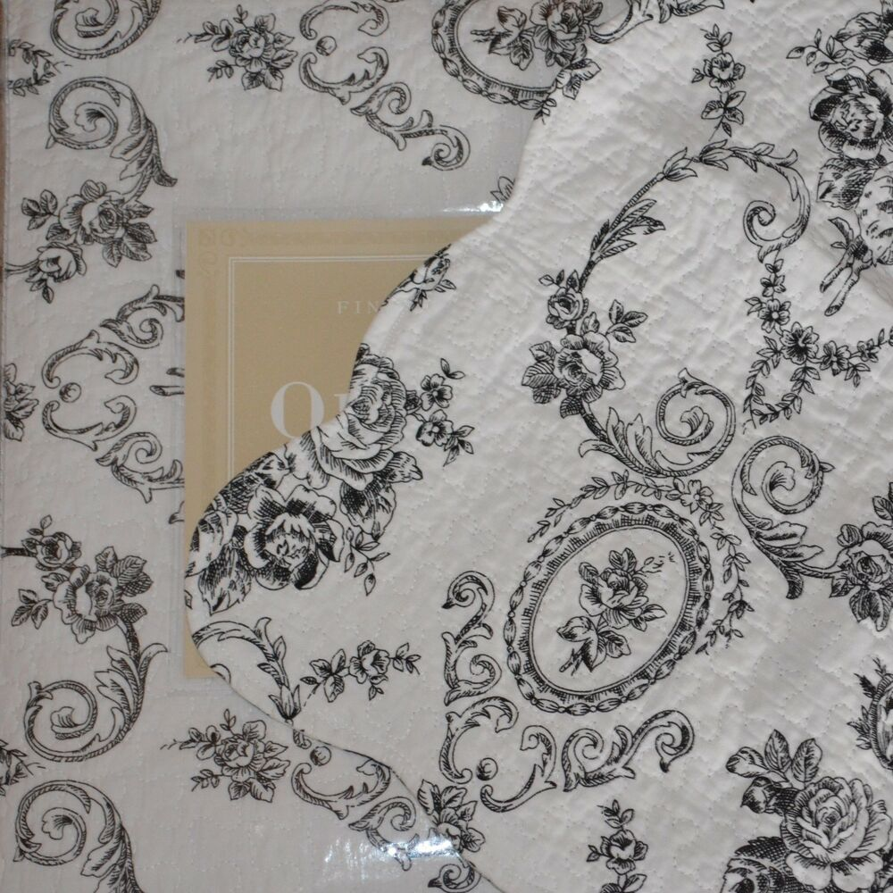 chic shabby toile floral cameo black cream white full