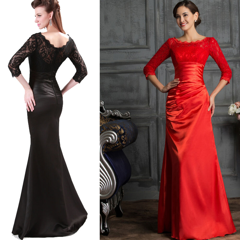 3 4 sleeve black red lace bridesmaid ball gown evening for 3 4 sleeve ball gown wedding dress