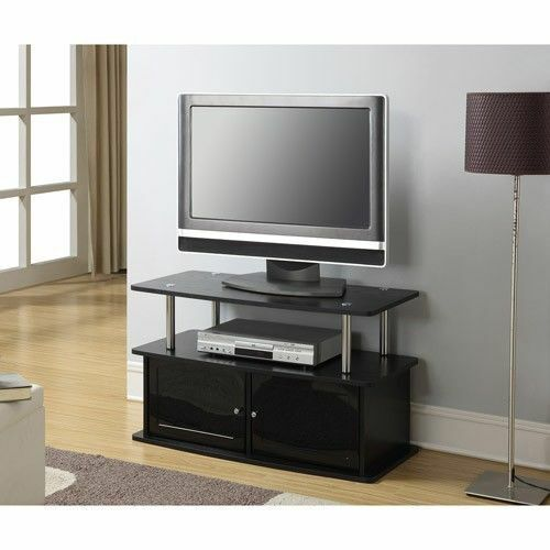 Tv Storage Furniture: Modern Black TV Stand Flat Screen Entertainment Media