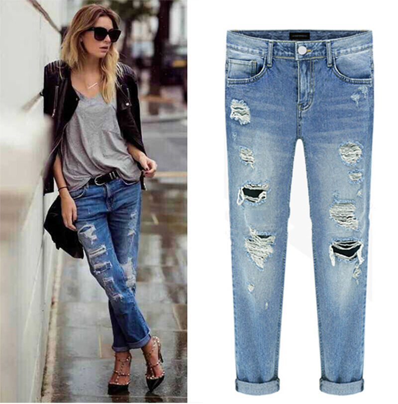 machine jeans ripped distressed destroyed boyfriend cropped women washed denim ebay. Black Bedroom Furniture Sets. Home Design Ideas