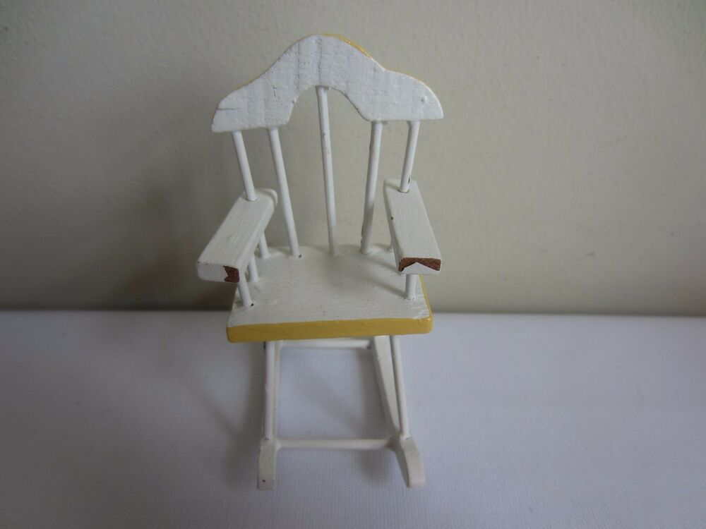 Vintage Dollhouse Miniature Painted White Yellow Wood