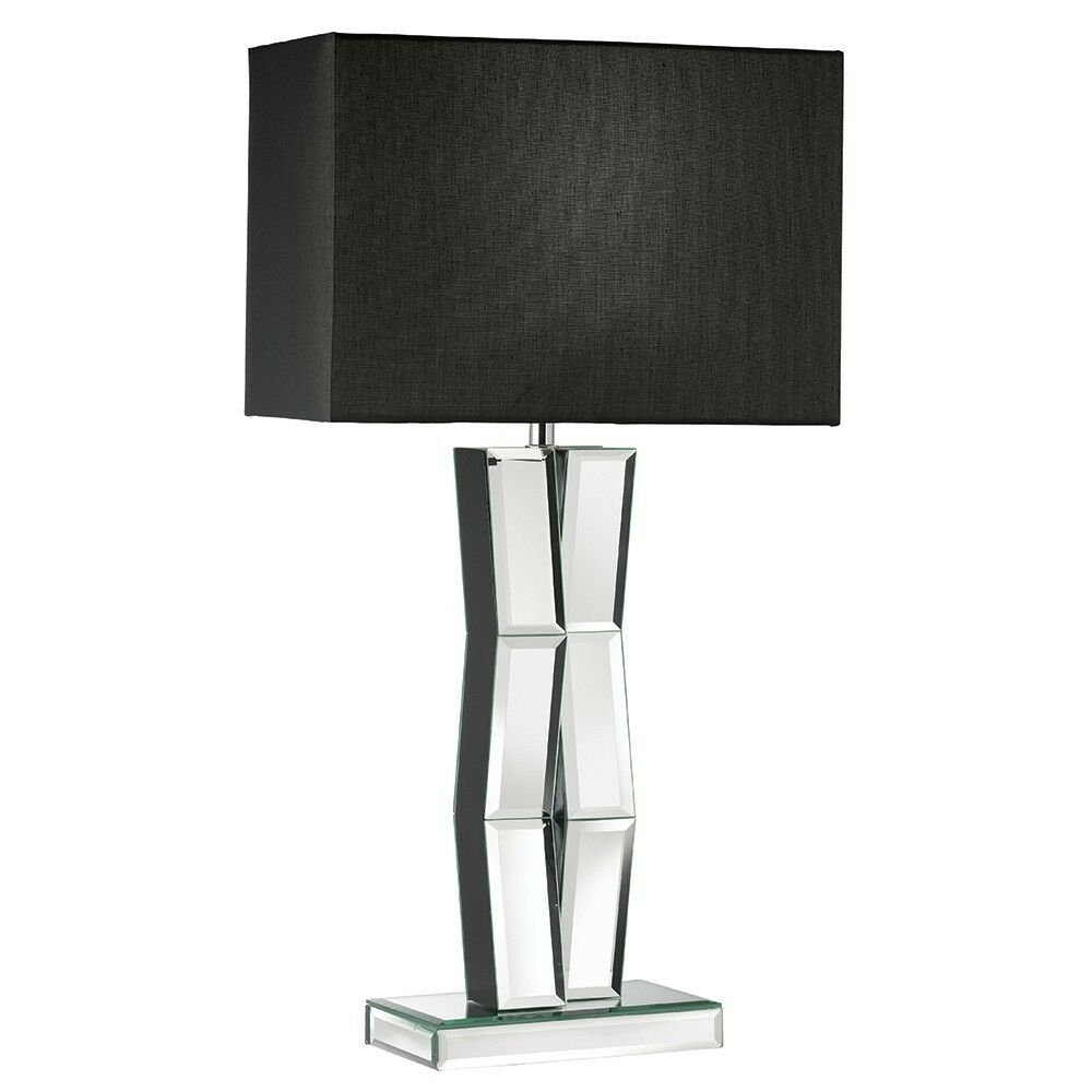 searchlight 5110bk mirror finish table lamp black rectangular shade new bnib ebay. Black Bedroom Furniture Sets. Home Design Ideas