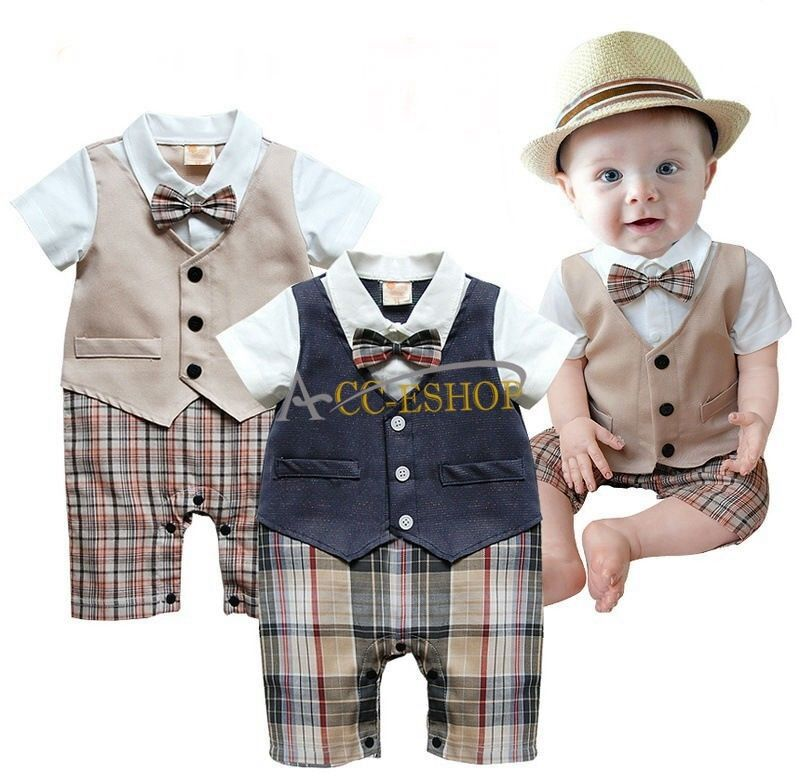 1pc Baby Boy Infant Gentleman suit bodysuit Bow tie Rompers Clothes Outfit 6-18M | eBay