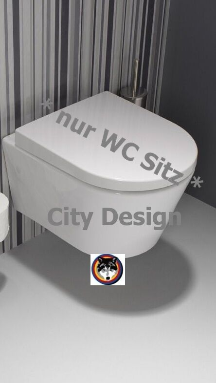 wc sitz city design mit edelstahlscharnier sanindusa weiss ebay. Black Bedroom Furniture Sets. Home Design Ideas
