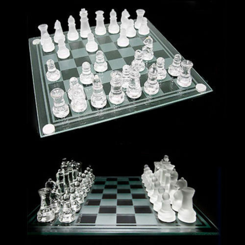 Chessboard 32 Pieces Glass Frosted Traditional Chess Board