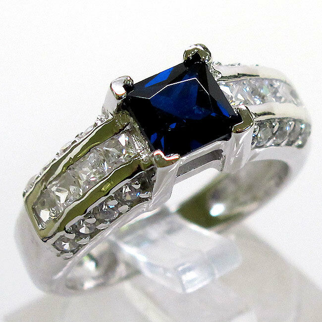 fantastic 1 ct sapphire 925 sterling silver ring size 10
