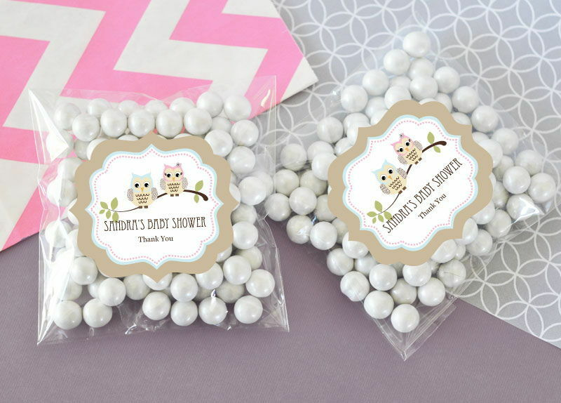 24 woodland owl personalized clear candy bags baby shower favors