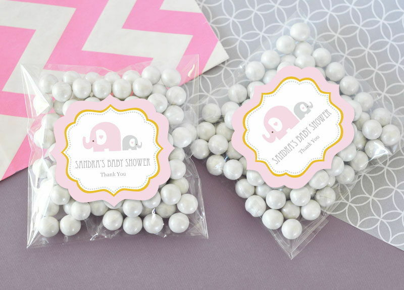 pink elephant personalized clear candy bags baby shower favors ebay