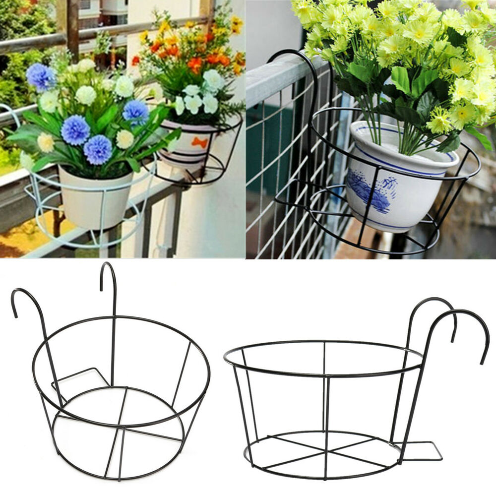 Metal Flower Hanging Baskets : Metal iron flower pot hanging balcony garden plant planter