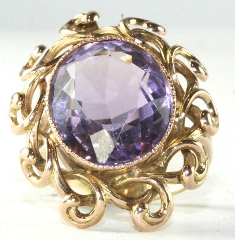 Victorian Antique Very Large 14k Gold Amethyst Fancy Ring
