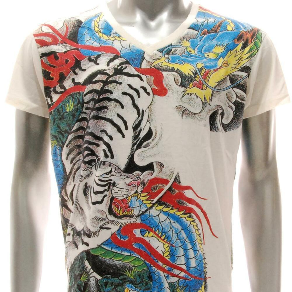 w42 japanese irezumi tattoo vneck t shirt dragon tiger ryu tora war biker casual ebay. Black Bedroom Furniture Sets. Home Design Ideas