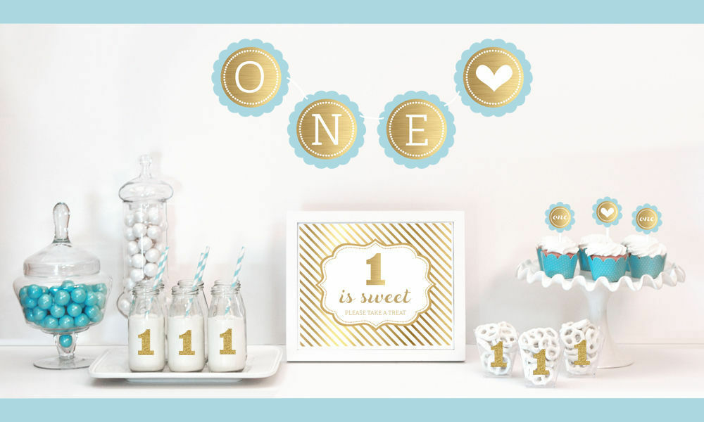 Gold and glitter 1st birthday party decorations kit for Baby shower decoration kit