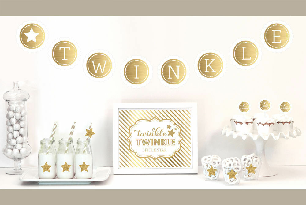 Gold and glitter twinkle party decorations kit baby shower for Baby shower decoration kit