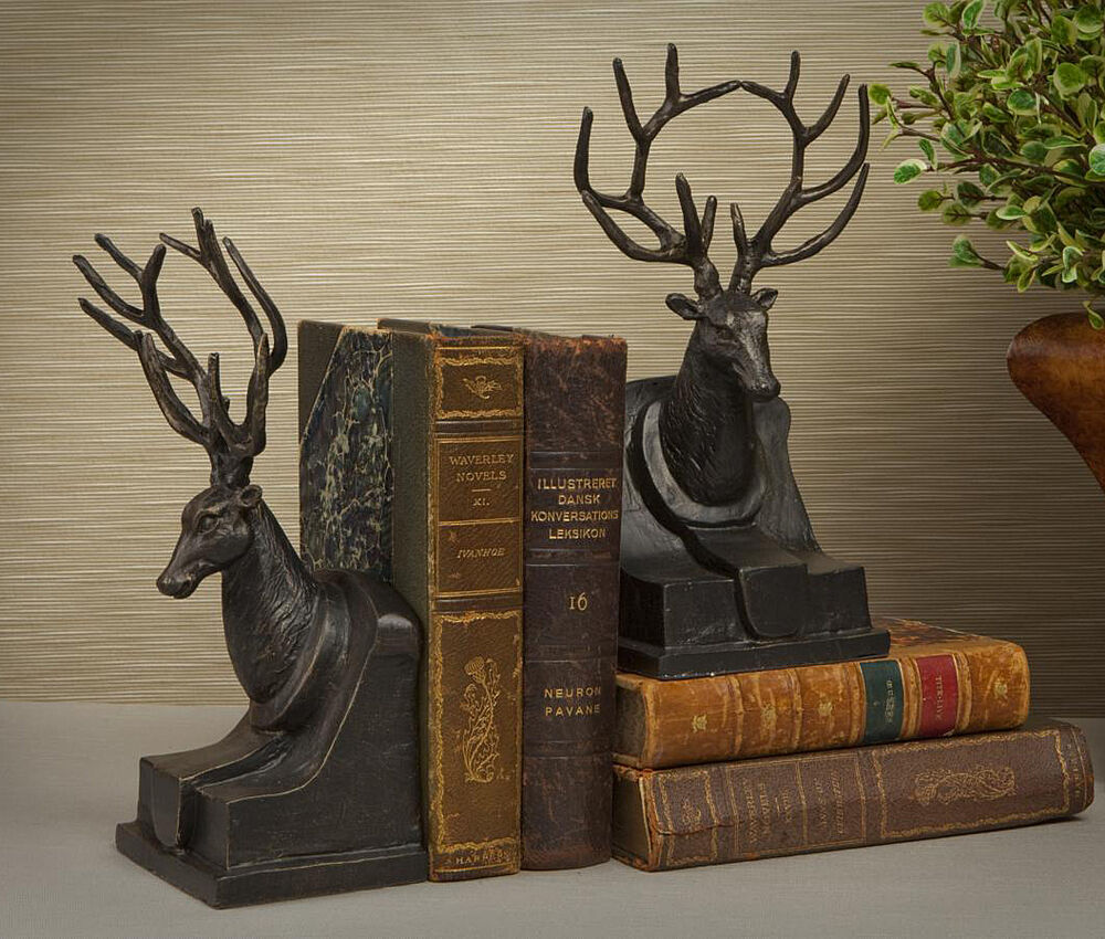 Bookends majestic stag bookends deer book ends bronze finished ebay - Stag book ends ...