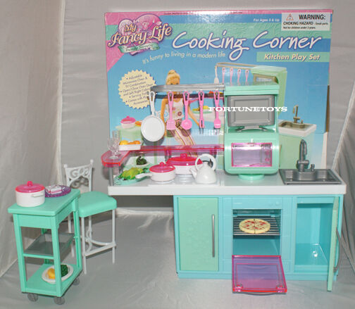 Fancy life doll house furniture cooking corner kitchen for Kitchen set toy kingdom