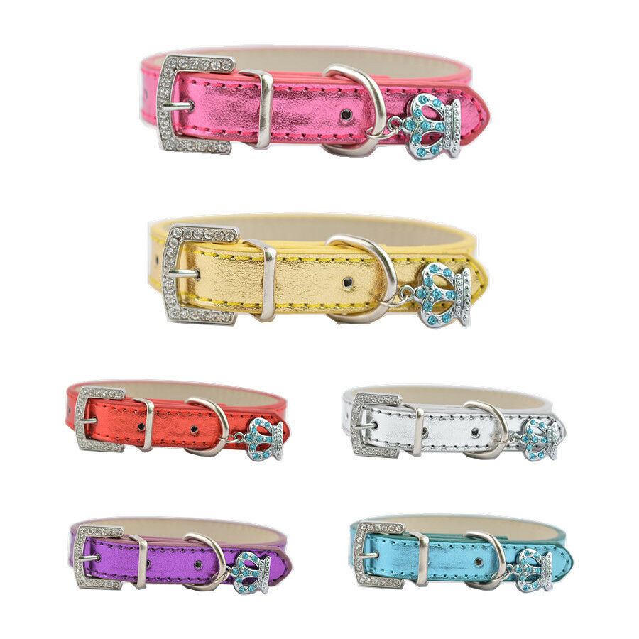Rhinestone Buckle Dog Collar Tag Included Leather Collar ...