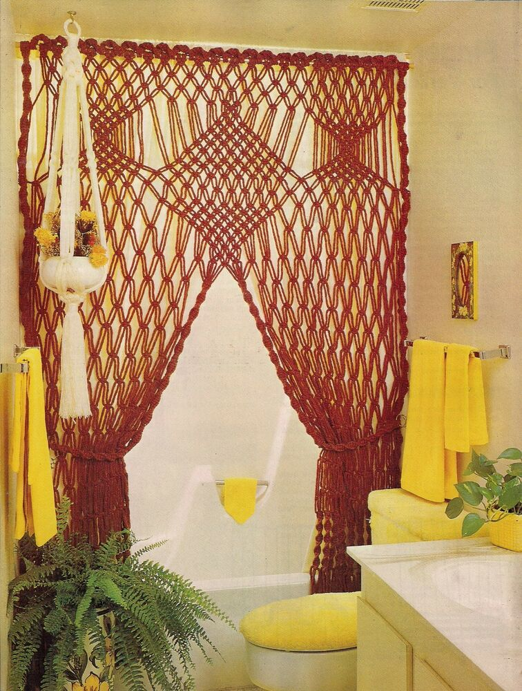 1970s Decorative Shower Curtain Pattern Craft Book MM122 Macrame Moods ...