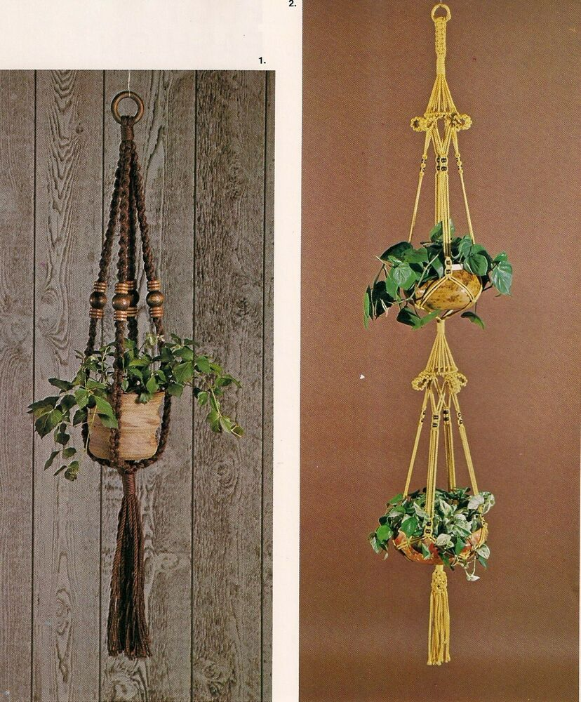 macrame plant hanger pattern free 1970s vintage plant hanger patterns craft book mm166 3398