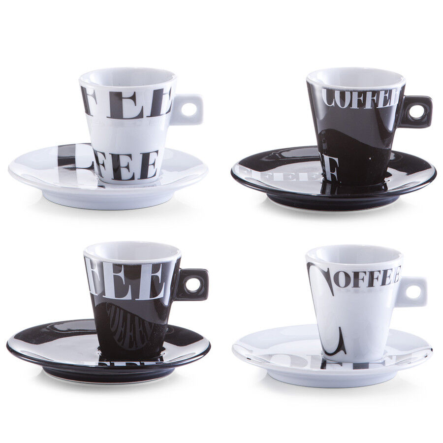 8tlg espresso set tasse untertasse espressotasse becher porzellan kaffeetasse ebay. Black Bedroom Furniture Sets. Home Design Ideas