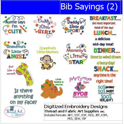 Embroidery design cd bib sayings designs