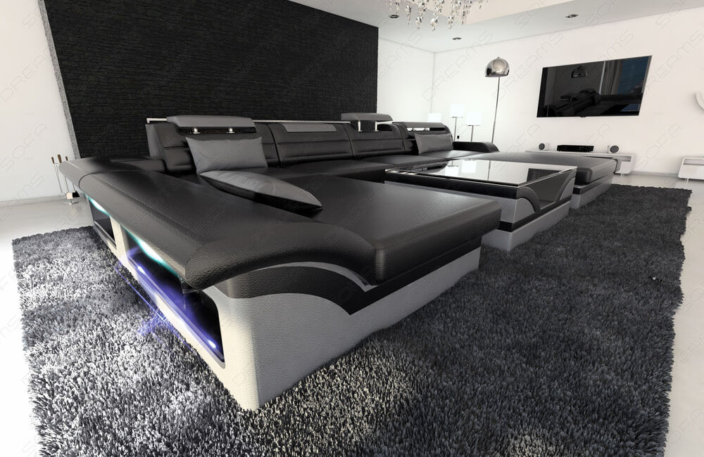 xxl leather sectional sofa monza u shaped cornersofa with led lights ebay. Black Bedroom Furniture Sets. Home Design Ideas