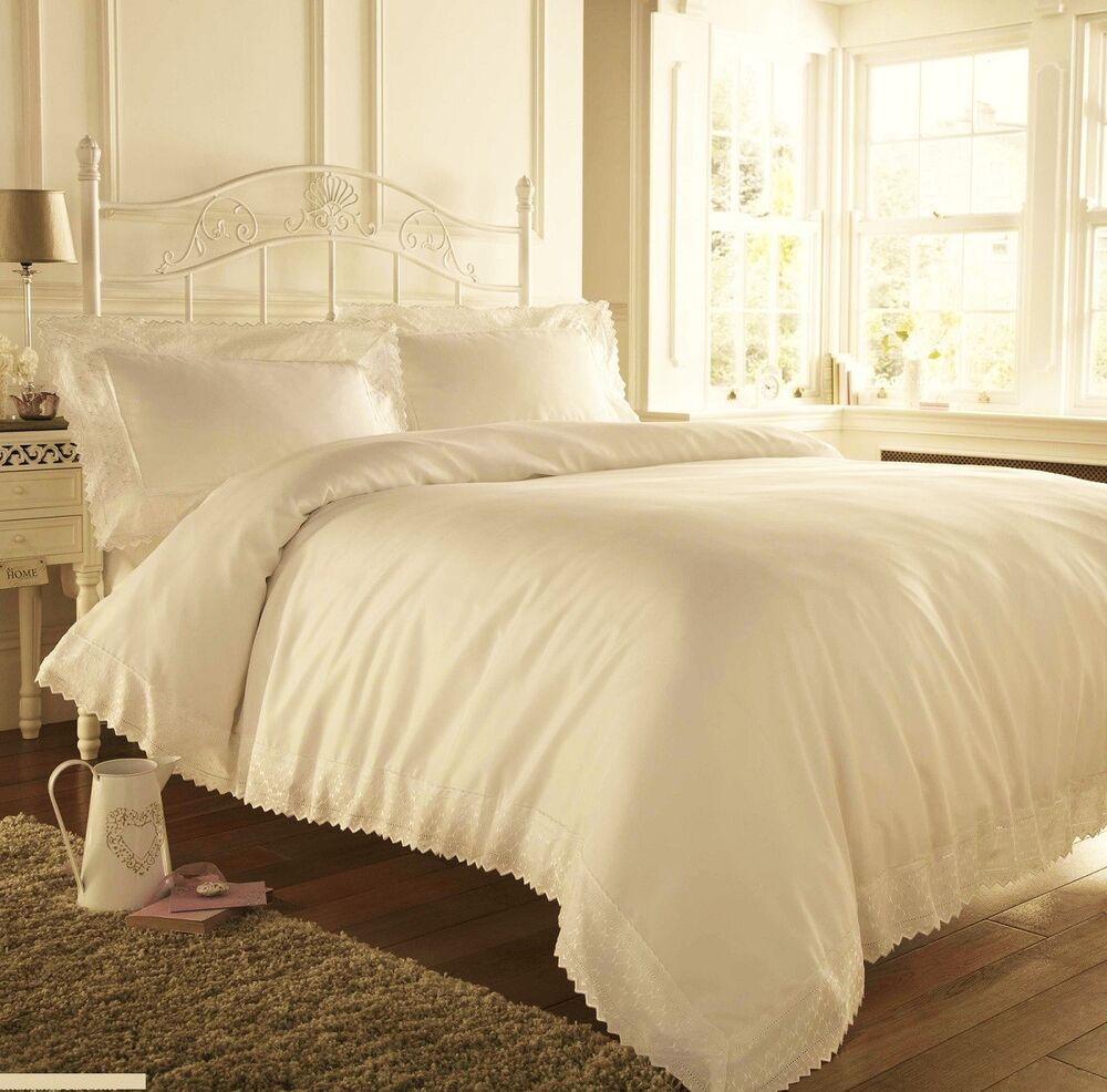 ecru cream soft embroidered lace edged duvet cover sets in double or king size ebay. Black Bedroom Furniture Sets. Home Design Ideas