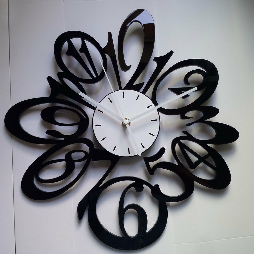 Wall Decor Clocks Modern : New in large black number wall clock home room decor