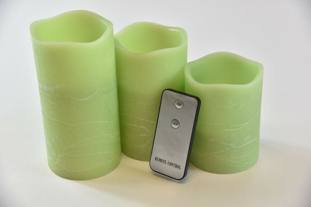 Set Of 3 Green Flameless Ivory Pillar Candles W Remote Ebay