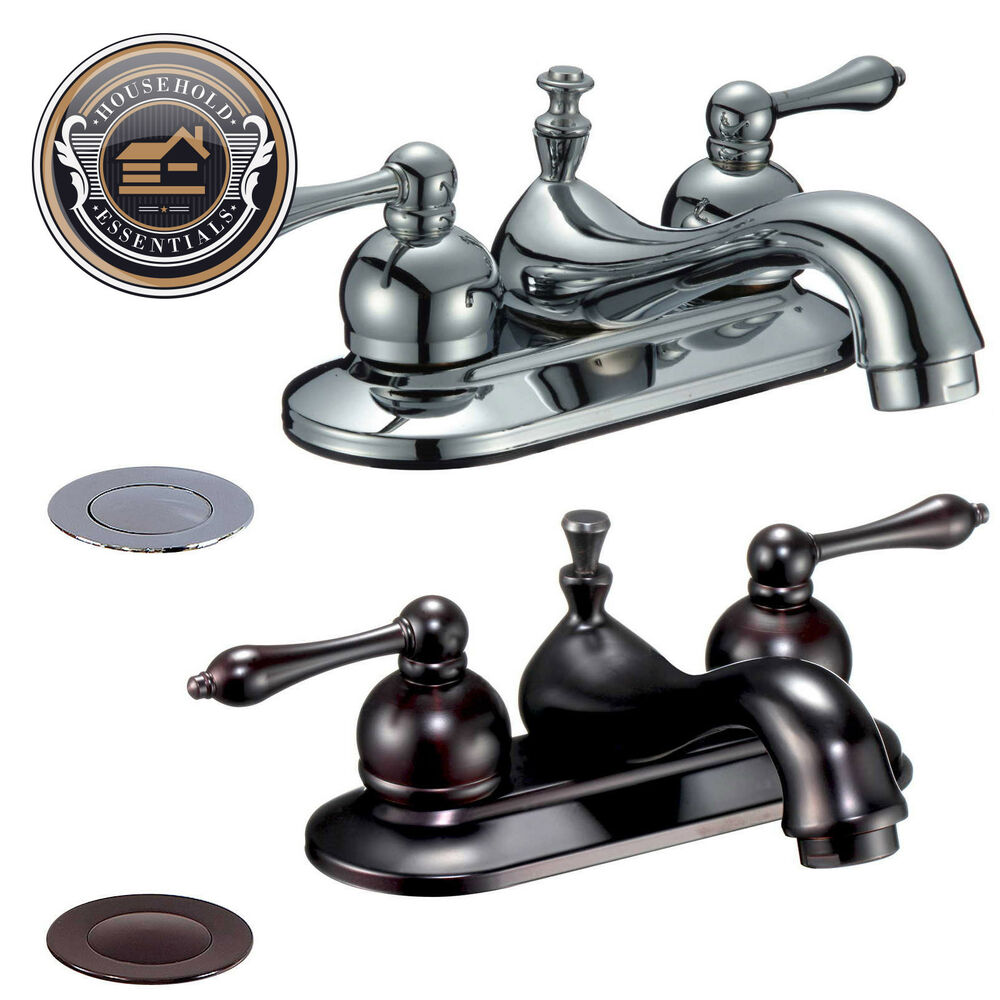 "Bathroom Sink Faucets: 4"" Centerset Bathroom Sink Faucet With Drain"