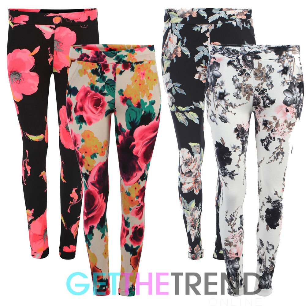 Womens Floral Print Crepe Tapered Trousers Ladies Skinny ...