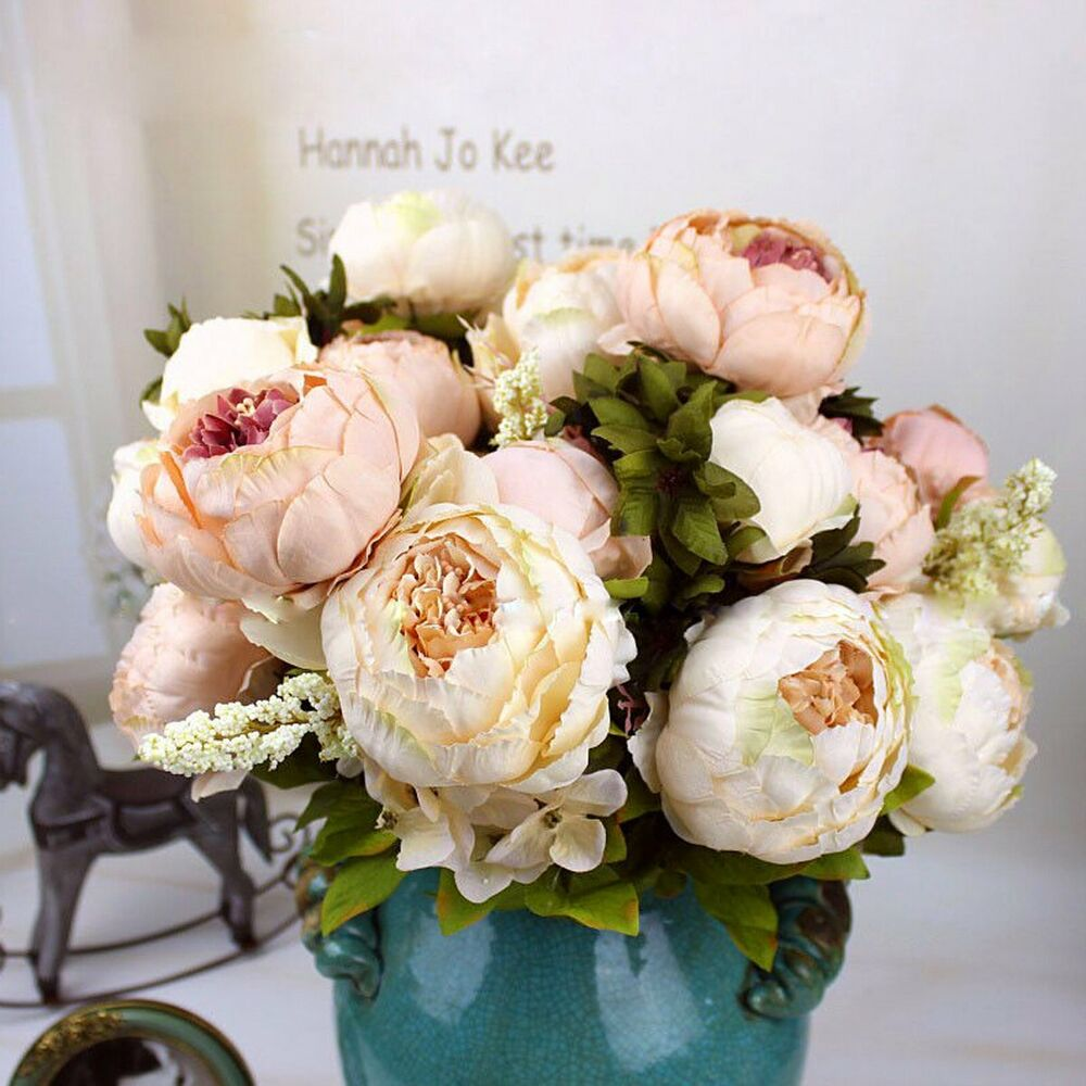 fake 8 head peony silk flower bridal bouquet wedding party home decor