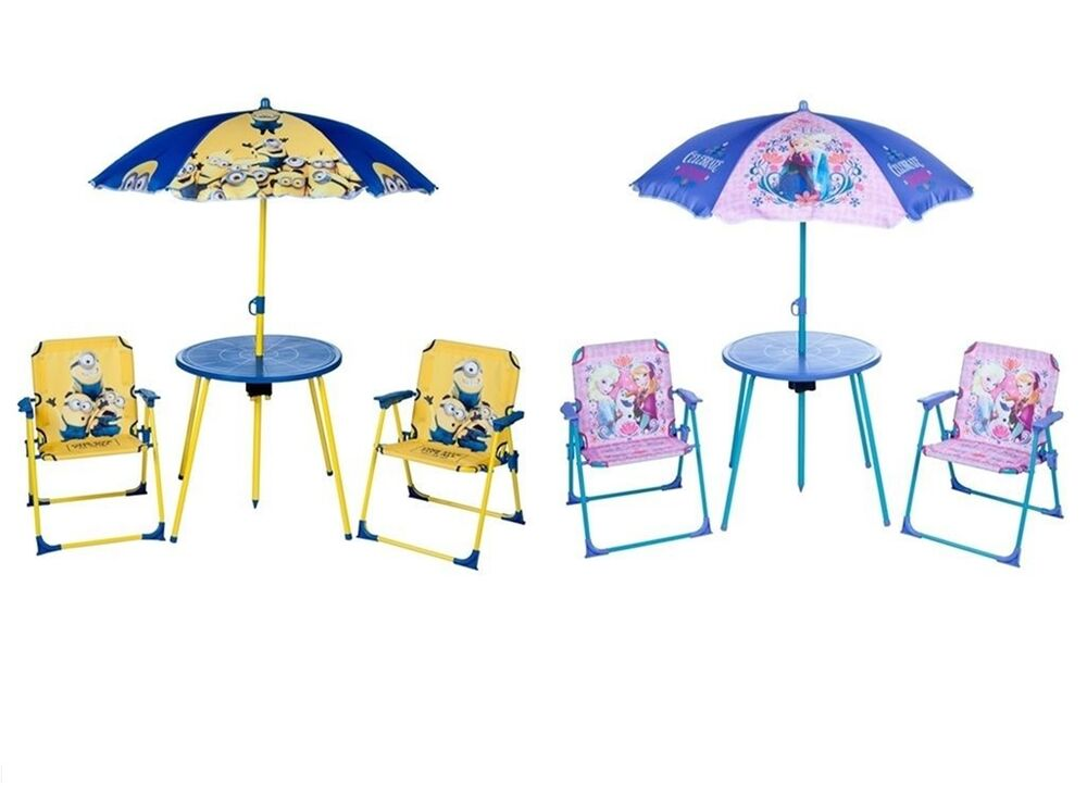 Kids Garden Table and Chairs Set Parasol Folding Children Patio Furniture New