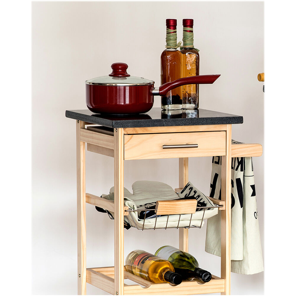 Kitchen Trolley Island Cart Granite Top Chopping Board