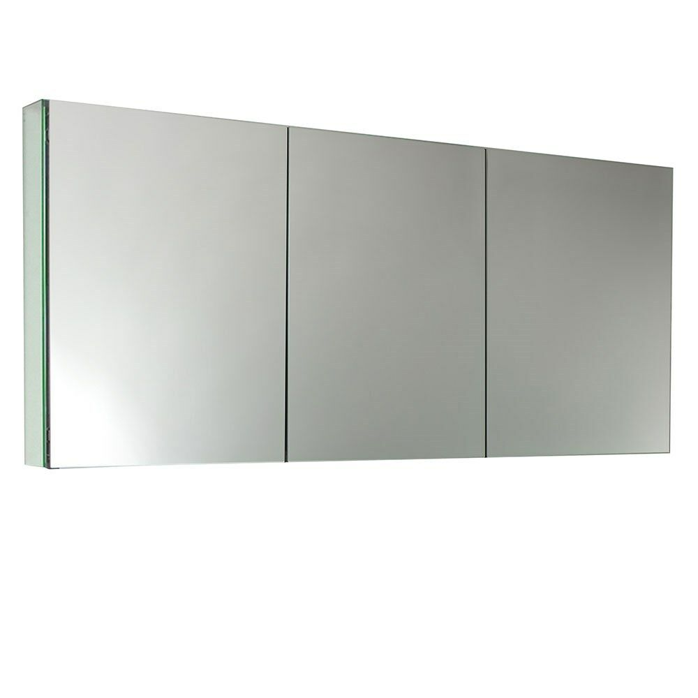 Fresca 60 wide mirrored bathroom medicine cabinet 3 door for 16 in x 60 in beveled door mirror