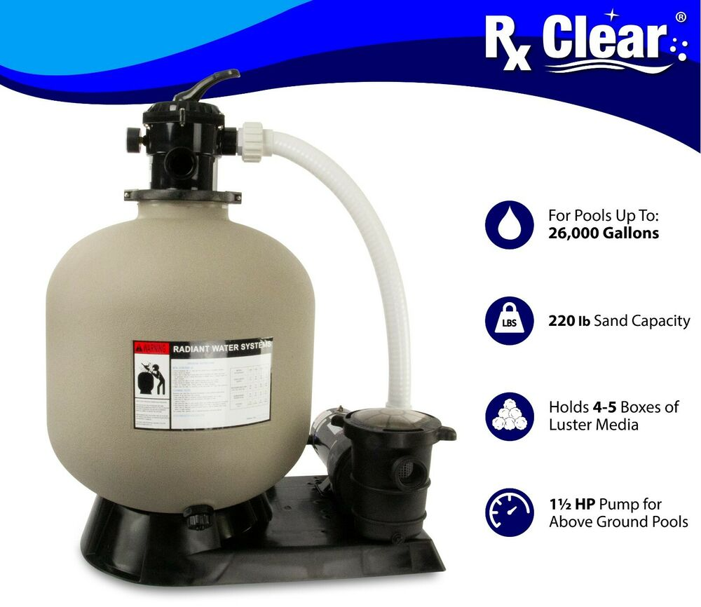 Radiant 22 Inch Above Ground Swimming Pool Sand Filter System W 1 5 Hp Pump Ebay