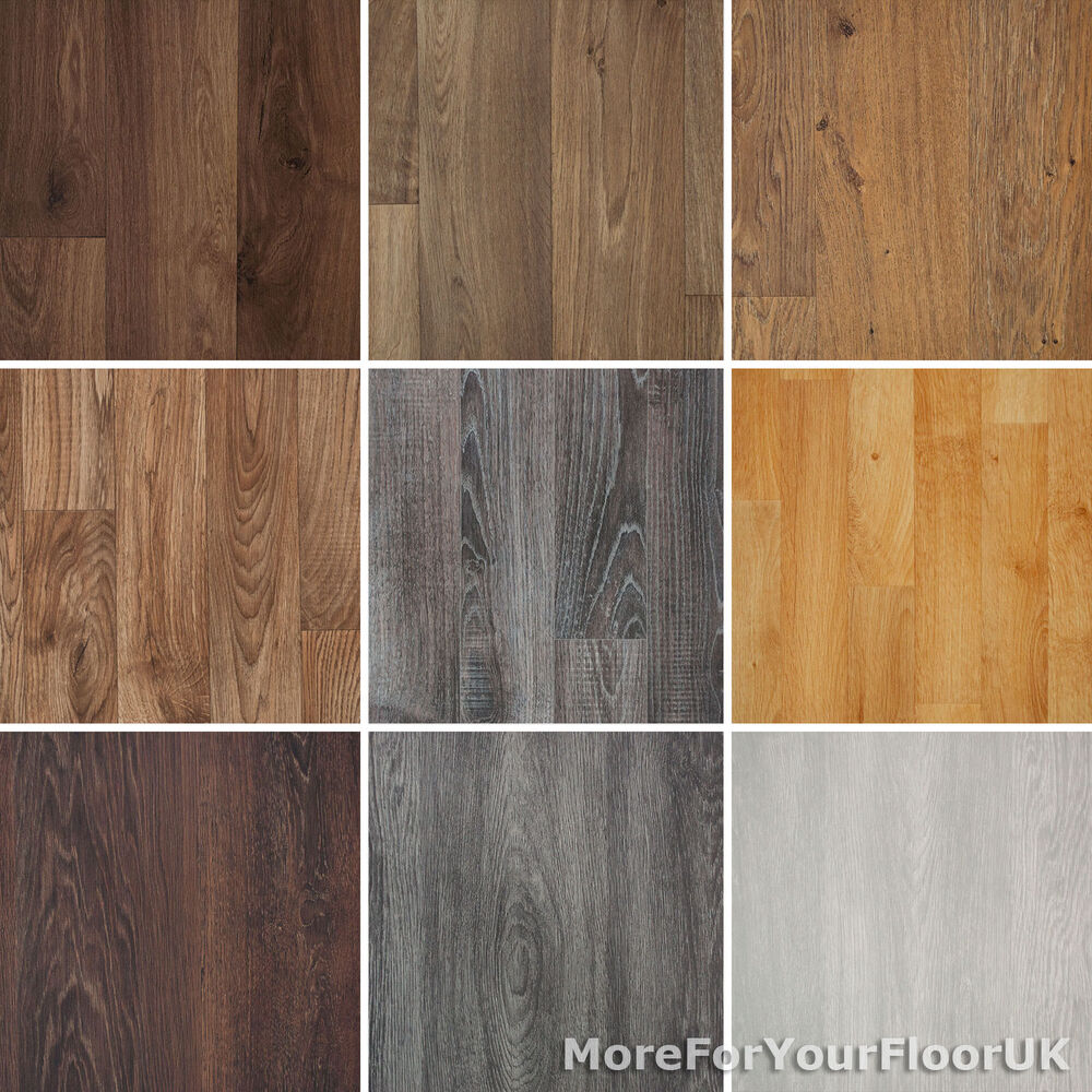 Wood plank grain effect vinyl flooring quality lino 2m 3m for Colourful lino flooring