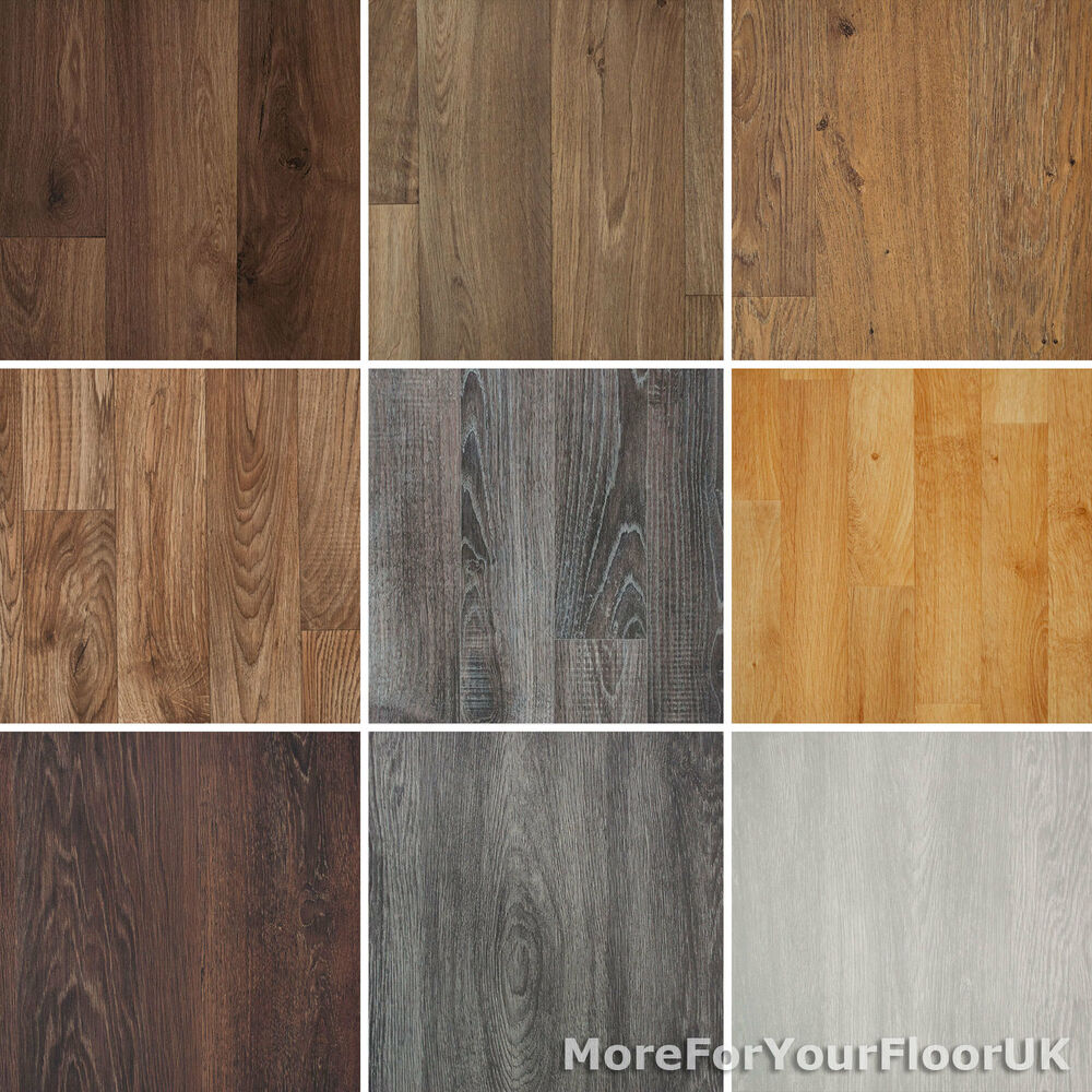 Wood plank grain effect vinyl flooring quality lino 2m 3m for Lino laminate flooring