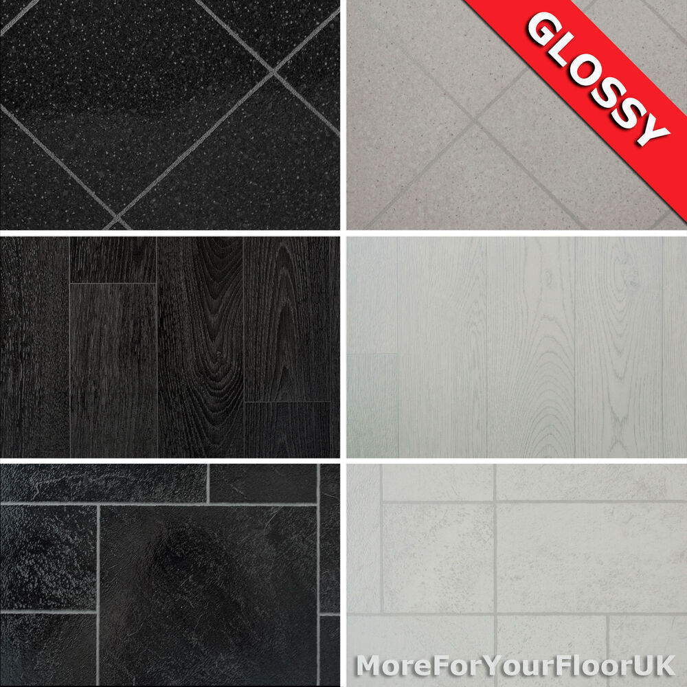 Glossy wood tile effect vinyl flooring quality lino 2m 3m for Lino flooring tile effect