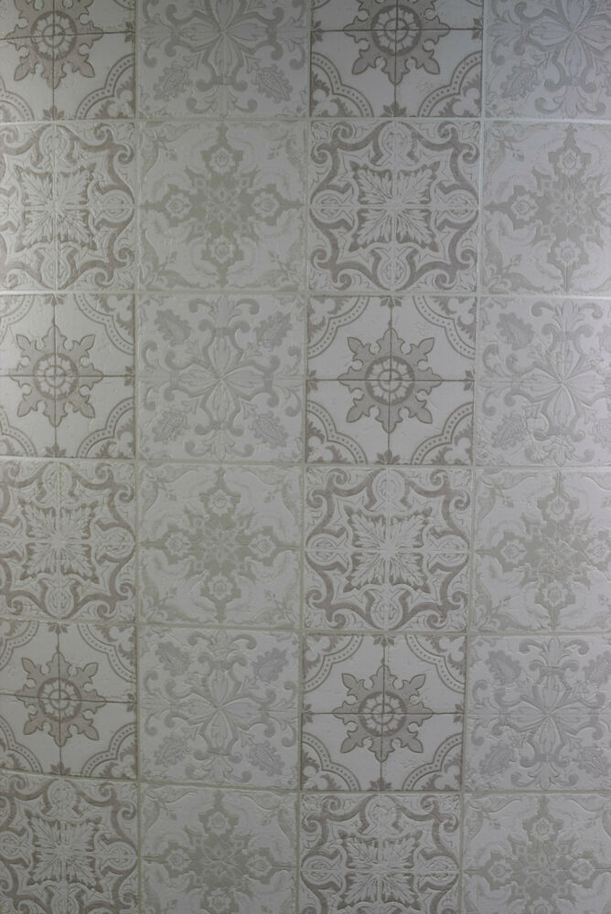 Square vintage kitchen bathroom washable wallpaper white for White washable wallpaper