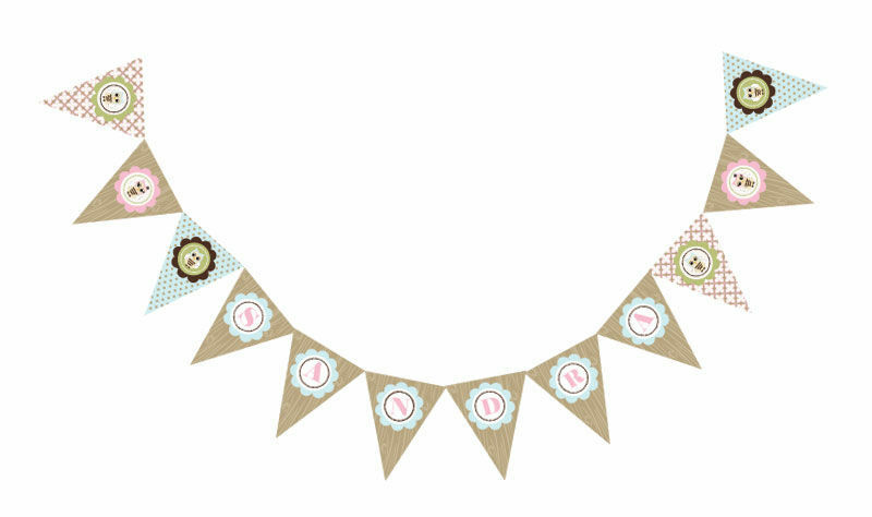Woodland owl theme personalized baby shower pennant banner ebay