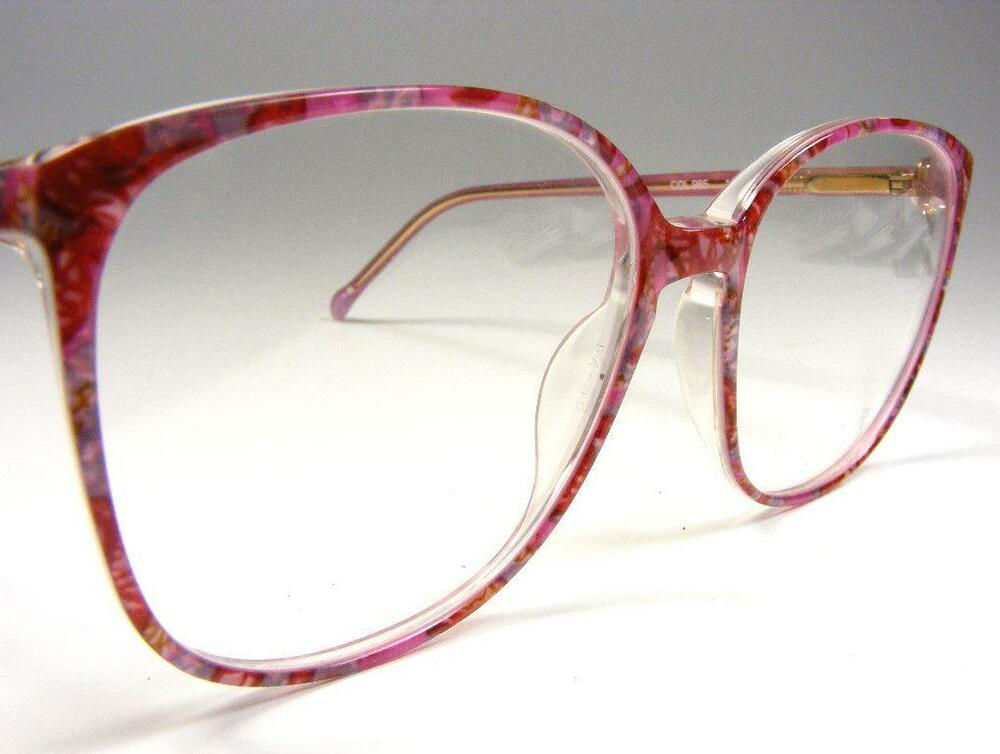 Big Plastic Frame Glasses : Large Plastic Vintage NOS Eyeglass Frame Multi-Color Pink ...