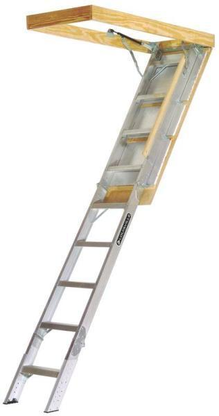 New Louisville Ladder Aa2210gs 350 Pound Aluminum Attic