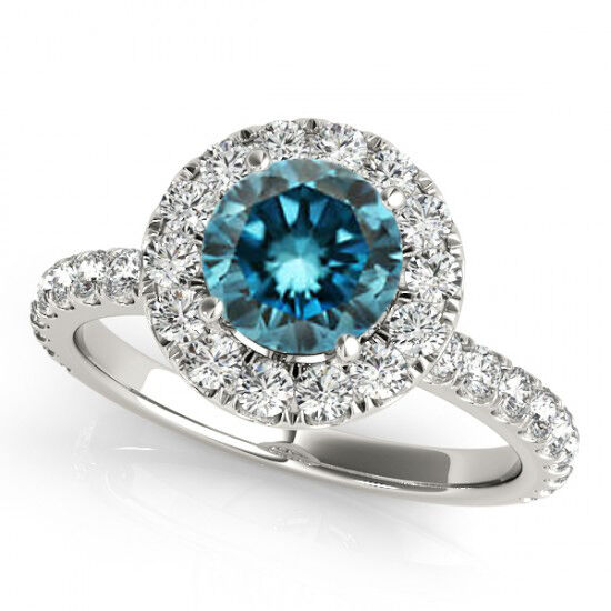 blue solitaire halo engagement ring 14k white gold