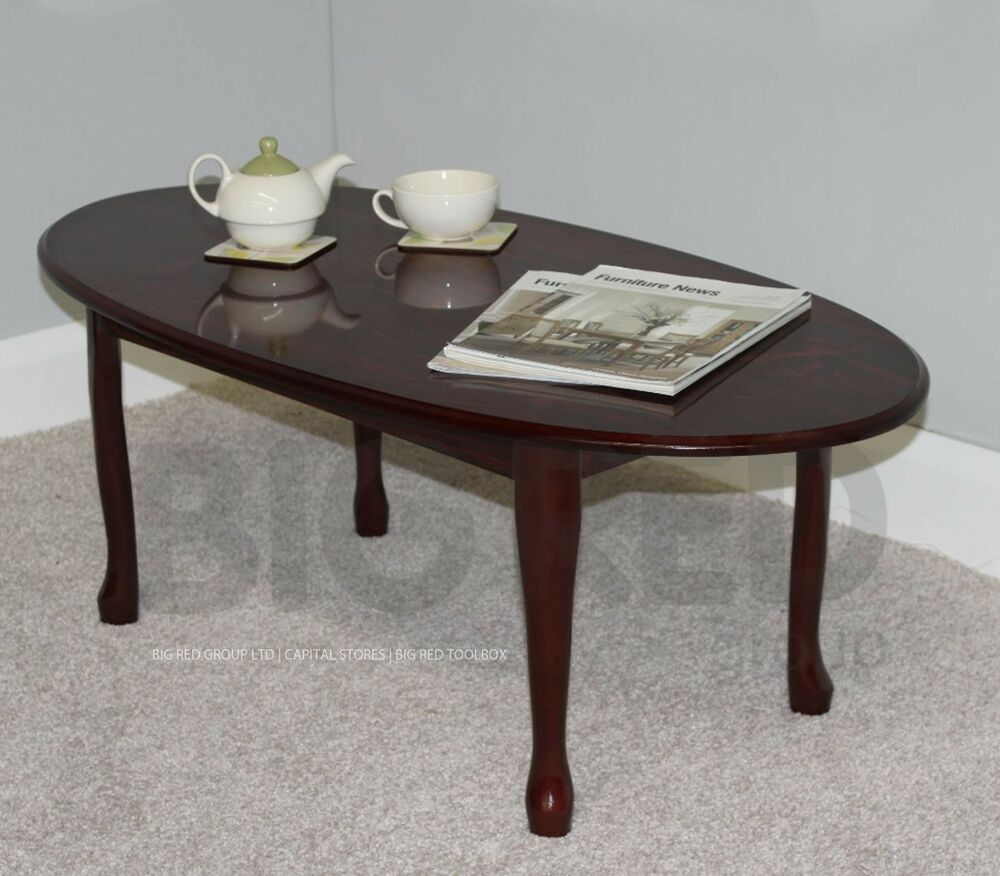 Oval Oak Coffee Table Uk: Queen Anne Traditional Oval Coffee Table In Mahogany
