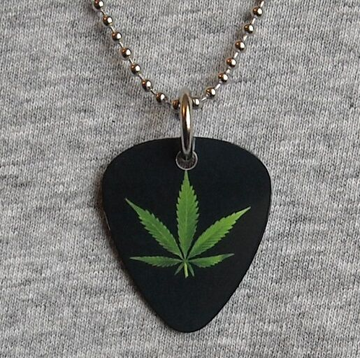 Metal Guitar Pick Necklace Pot Leaf Marijuana Weed Dope