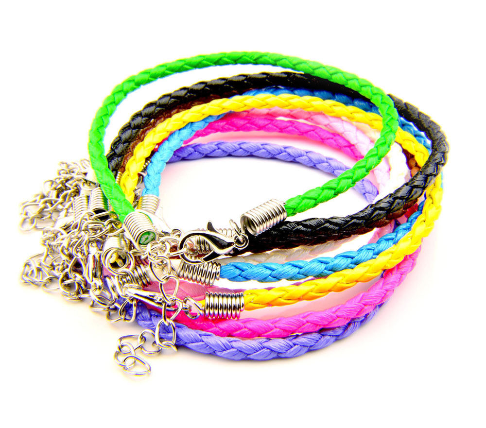 Women Braid Leather Bracelet Anklet Rope Lobster Clasp ...