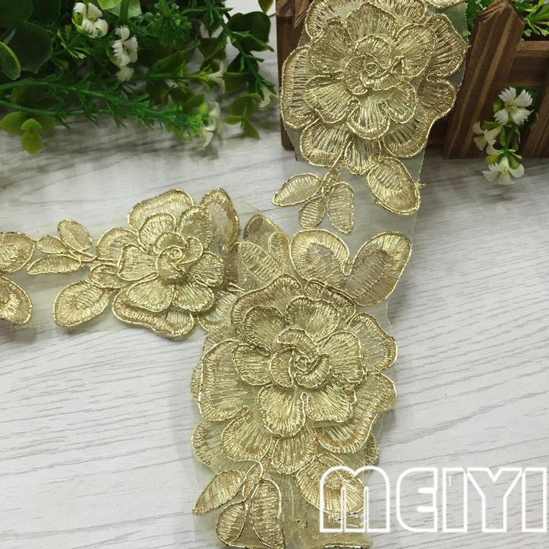 2yd vintage flower lace edge trim wedding bridal dress for Craft ribbons and trims