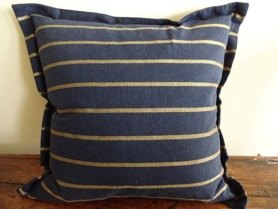Ralph Lauren Decorative Couch Pillows : RALPH LAUREN DEAUVILLE Navy GOLD STRIPE Feather Decorative TOSS THROW PILLOW eBay