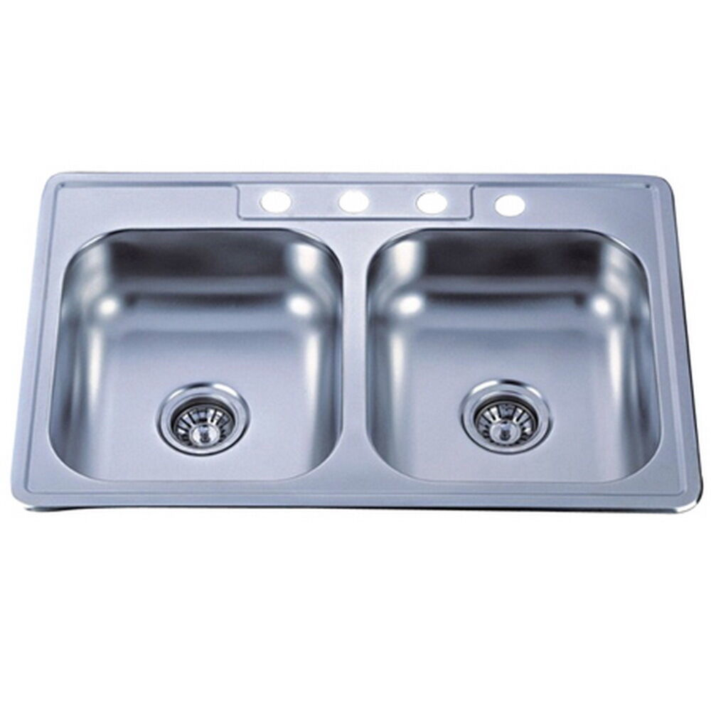 Double Bowl Self rimming 33 inch Stainless Steel Kitchen